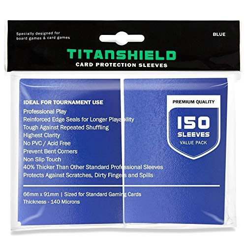TitanShield (150 Sleeves / Blue) Standard Size Trading Card Sleeves Deck Protector for Magic The Gathering MTG, Pokemon, Baseball, Dropmix