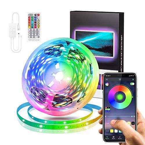 Swonuk Tira LED WiFi de 5 m, sincronización con música, controlable mediante aplicación y mando a distancia, cinta LED para casa, dormitorio, cocina, fiesta
