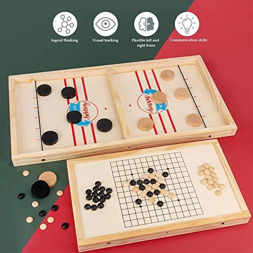 Schnelles Sling Puck Spiel, 2 In 1 Tragbare Holz Durable Air Hockey Brettspiel Spielzeug Winner Board Stoßstange Schach Desktop Spiel Eltern-Kind Interaktives Spiel Schach Prop Für 2 Personen - B