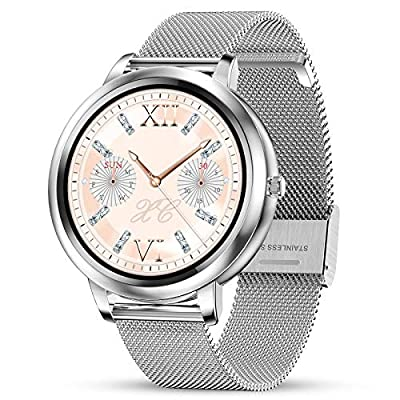 """GOKOO Smart Watch for Women Bluetooth Fitness Tracker with Heart Rate Sleep Blood Pressure Monitor Calories Pedometer Sports Activity Tracker Smartwatchs IP67 Waterproof 1.09"""" Full Touch"""
