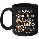N\A Taza de café de cáncer de útero Lucha Cinta de melocotón para mi Abuela