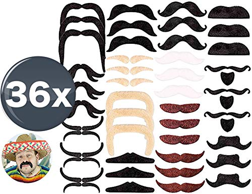 TK Gruppe Timo Klingler 36x selbstklebend Bärteset mit div. Schnurrbart, Bart, Fake Moustache, Schnauzer als Zubehör zu Fasching & Karneval