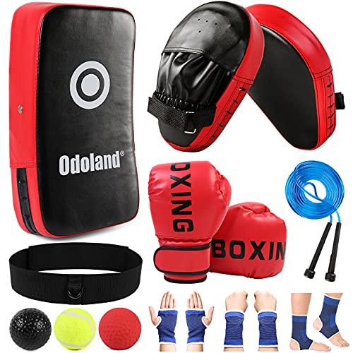 Odoland Kit de Guantes de Boxeo 6-en-1 con Paos de Boxeo Patas de Oso Protecciones Bola Reflejada Boxeo Cuerda Saltar, Sets de Boxeo Kickboxing Karate Muay Thai Entrenamiento