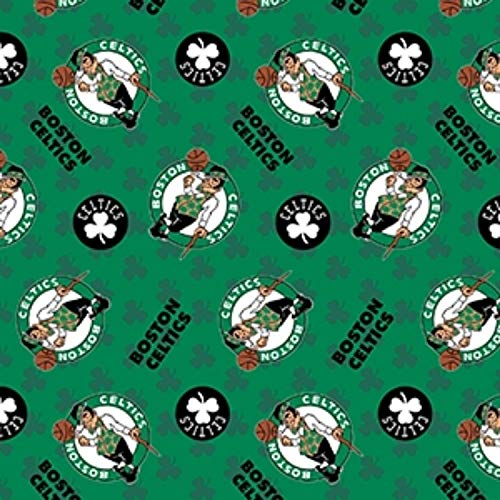 Fleece (not for masks) Boston Celtics Green Clovers NBA Basketball Fleece Fabric Print by The Yard (A609.04)
