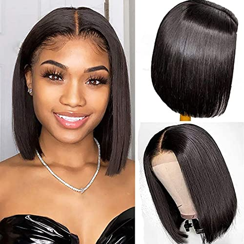 Bob Wig Human Hair 4x1 Lace Middle Part Wigs for Black Women Pre Plucked With Baby Hair 100% Unprocessed Virgin Hair Glueless Wigs (12inch, Natural color)