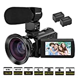 Video Camera, Kenuo 4K Camcorder 48MP 4K Video Camera Ultra HD Digital Video Camera with External Microphone 3.0' Touch Screen IR Night Vision 16X Digital Zoom Cameras with Wide Angle Lens,2 Batteries