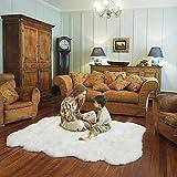 フェイクシープスキンラグ、ファーフェイクフリースふわふわエリアラグアンチスキッドヨガカーペット用リビングルーム寝室ソファフロアラグ,白,130x200cm/4.2x6.5ft