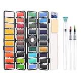 BBLIKE Artist Pinturas de Acuarela, Set de Acuarelas de 38 Colores de Agua Portatiles, Incluye 38 Acuarelas, 3 Pinceles, para Principiantes y Profesionales