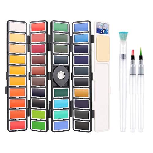 Watercolour Paint Set, BBLIKE 38 Colors Foldable & Portable...