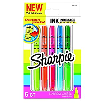 Sharpie Ink Indicator Stick Highlighters Chisel Tip Assorted Fluorescent 5 Count