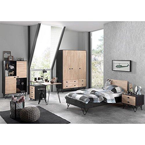 Lomadox Jugendzimmer Komplettset massiv schwarz, Birke massiv natur lackiert, 90x200 cm Jugendbett, Nachttisch, 150cm Kleiderschrank, Highboard, Schreibtisch und Container