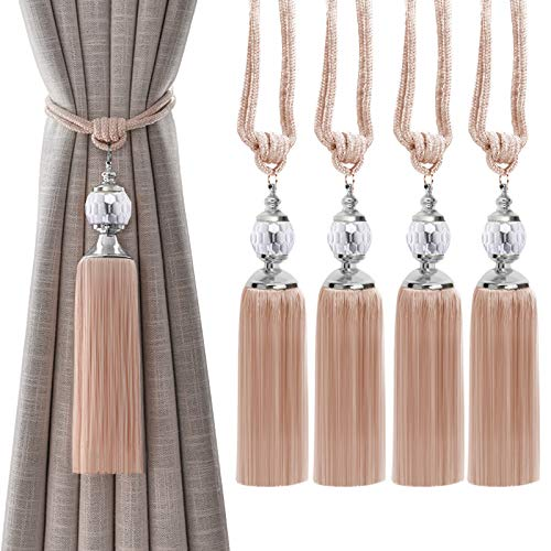 Tassel Curtain Tiebacks, 4 Pack Curtain Holdbacks, Window Drapery Decorative Crystal Ball Tassel Braided Rope Curtain Tiebacks(Red Beige)