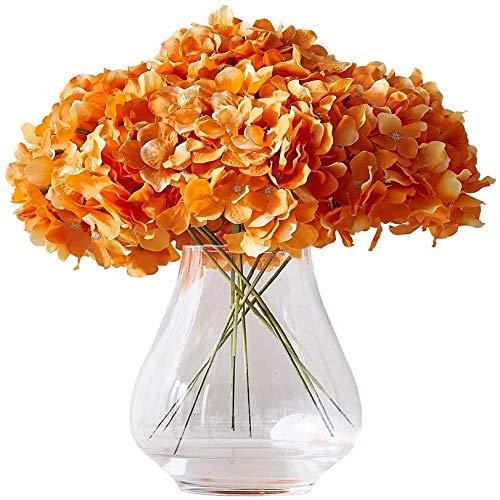 yueyue947 / Hortensia Cabezas de Flores de Seda con 10 Tallos Borgoña Hortensia Artificial Cabeza de Flor para Boda DIY Decoración Floral Decoración del hogar Naranja