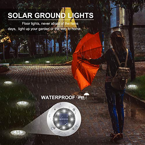 LYHOPE Solar Ground Lights, 8 Pack 8 LED Solar Disk Lights Outdoor Garden In-ground Lights Landscape Lighting for Lawn Pathway Yard Patio Walkway (White)