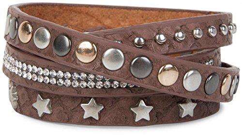styleBREAKER Wickelarmband mit Strass, verschiedenen Nieten und Sterne, Armband, Damen 05040029, Farbe:Rotbraun