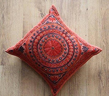 Hermoso espejo trabajo, Boho-Chic/bohemio, bordado a mano, cojín/Funda de almohada 16x 16pulgadas. Algodón, hecha a mano de la India, decoración del hogar