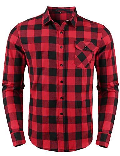 Sykooria Homme Chemise à Carreaux Manches Longues Casual Slim Fit en Flanelle,Rouge-noir,S
