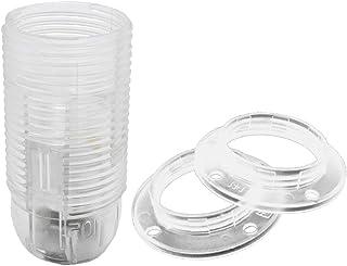 Juego de portalámparas transparente E14 + 2 x arandelas de rosca, rosca M10 x 1 termoplástico para bombilla y LED