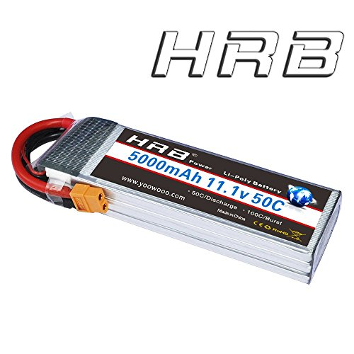 HRB 3S 11.1V 5000mAh 50C-100C LiPo Battery XT60 Plug for RC Plane Tracxas 2872X, DJI F450 Quadcopter,RC Airplane, RC Helicopter, RC Car/Truck, RC Boat