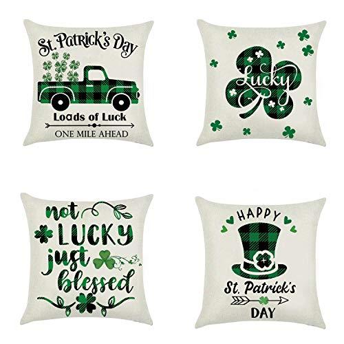 JOERRES Juego de 4 fundas de almohada para el día de San Patricio, decoración del hogar, sofá, 45 x 45 cm, color verde