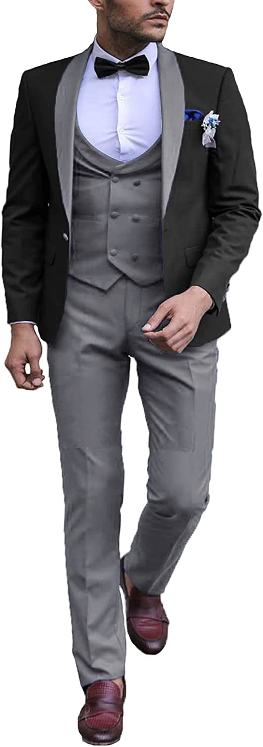 DGMJ Men 3 Piece Suit Slim Fit Elegant for Wedding G Shawl Lapel New Shipping included product