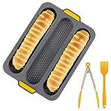 Kagodri Molde de pan francés, molde de silicona antiadherente perforado para pan francés con cepillo y clip para pan, juego de herramientas para hornear