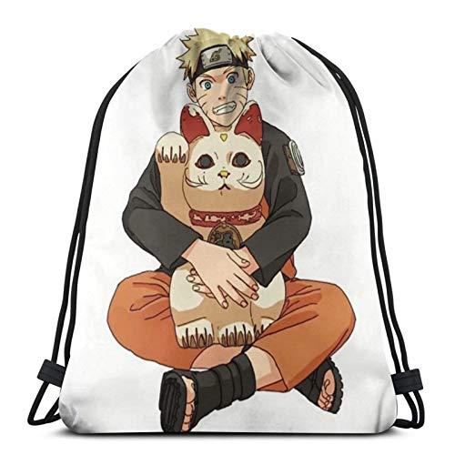 Anime NARUTO Uzumaki Naruto - Bolsa de gimnasio con cordón, mochila a granel, bolsa de deporte para la escuela, gimnasio, viajes, niño y niña, 14.2 x 16.9 pulgadas
