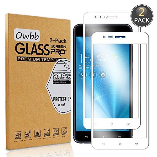 Owbb [2 Stück] Weiß Gehärtetes Glas Bildschirm schutzfolie Für Asus ZenFone Zoom S ZE553KL Full Coverage Schutz 99prozent High Transparent Explosionsgeschützter Film