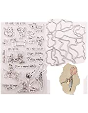 Clear Rubber Stamps and Metal Cut Dies Set for Scrapbooking Card Making