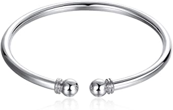 ChicSilver 925 Sterling Silver Bangle Bracelet, Fashion Simple Open Bangles Two Bead Cuff Jewelry for Women Girls