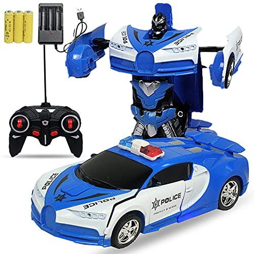 WZRYBHSD Robot transformador de inducción Coche de juguete para niños Control remoto universal Deformación Coche de carga Control remoto eléctrico Modelo de coche Deformación con un clic Con luces Hob