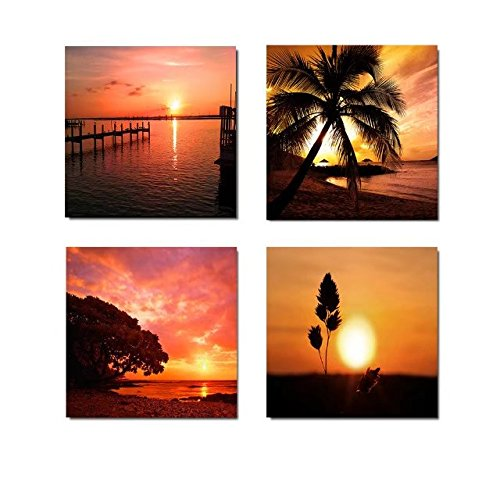 LARGE BROWN TONED SEASCAPE SUNSET CANVAS PICTURE 44x20/""