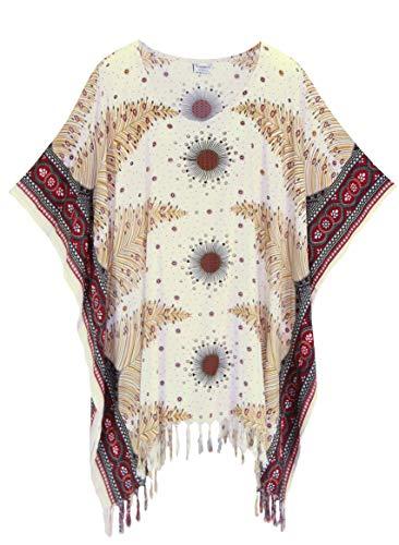 Beautybatik White Women Plus Size Tunic Tops Boho Flora Printed Short Sleeve V Neck Shirt 3X