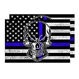 2-Pack Reflective Thin Blue Line Punisher Skull Vinyl...