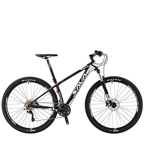 Bicicleta de montaña de SAVA DECK300, de fibra de carbono, 30 velocidades, MTB, rígida, completa, SHIMANO M610 DEORE, color white-29', tamaño 29x19', tamaño de rueda 29.00 inches