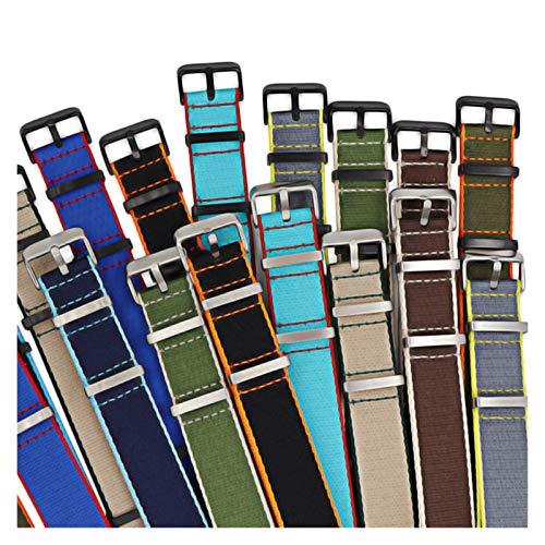 WNFYES 20mm 22mm cinturón de Seguridad Reloj con Correa de Nylon Correa de Reloj de Nailon (Band Color : H25 S, Band Width : 22mm)