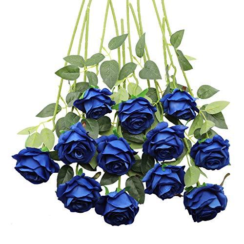 Decpro 12 Piezas de Rosas Artificiales, Flor de Seda de un Solo Tallo Largo de 19.7'' para Ramos de Novia, decoración de Hotel de Oficina, centros de Mesa, arreglos Florales(Azul)