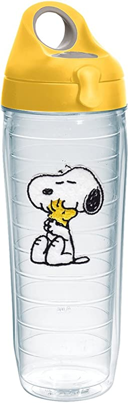 Tervis 1232564 Peanuts Felt Tumbler With Emblem And Yellow Lid 24oz Water Bottle Clear