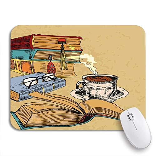 Juegos Alfombrilla de ratón Literatura Libros Antiguos Taza de café Dibujo Coloreado Literal Antideslizante Soporte de Goma computadora Alfombrilla para portátiles Alfombrillas de ratón