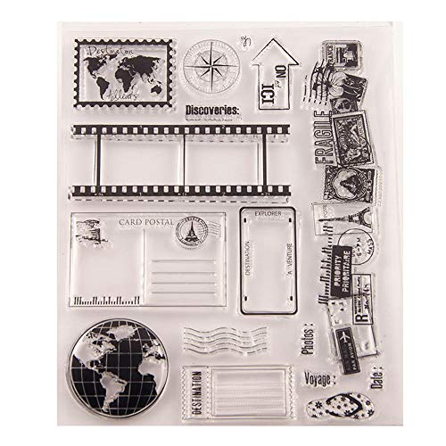 5.5 by 7.1 Inches Vintage Tellurion Book House Stamps Travel Clear Rubber Stamps for Scrapbooking Card Making Clear Stamps
