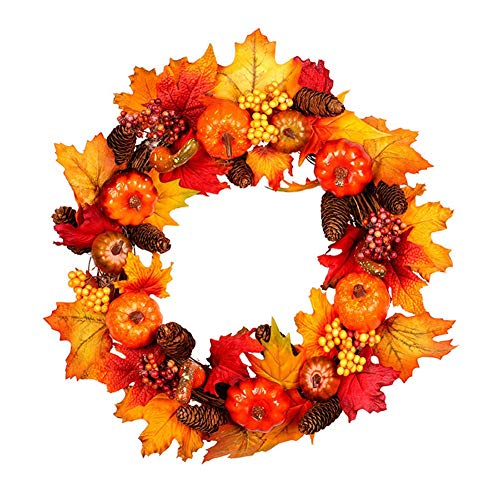 XIAO WEI Autumn Wreath 17 inch Front Door Wreath Christmas Wreath with Leaves and red Berry Wreath for Autumn Halloween