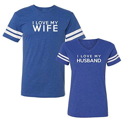 We Match! I Love My Wife I Love My Husband Matching Couples Football T-Shirt Set (Ladies Medium, Mens 3XL, Royal)