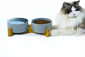 Ceramic Dog Bowls, SkyAppetite Dog and Cat Ceramic Food Bowl, Raised Feeding Bowls Stand, Wood Bamboo Water Stand Feeder Set for Cats and Dog Anti Vomiting(Grey-Medium)