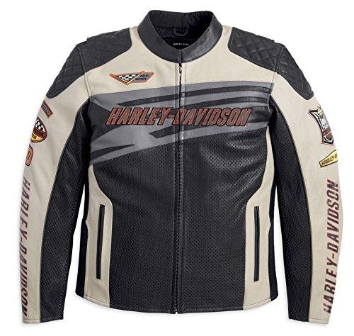 Harley Davidson Sprocket Leather Jacket Weiß 97117-12VM Herren Outerwear, schwarz, XXL
