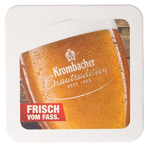 Krombacher Bierdeckel Pils Untersetzer Bier Glas Gläser Bierfilz Pappdeckel Party Bar Theke Tresen Deko Motiv Design (Kellerbier)