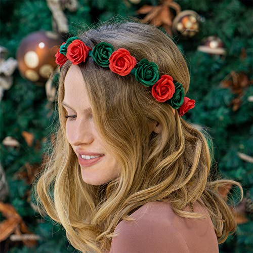 xo, Fetti Christmas Decorations Flower Headband Crown | Red and Green Outfit, Xmas Party Supplies, Head Band for Adult Women + Girls