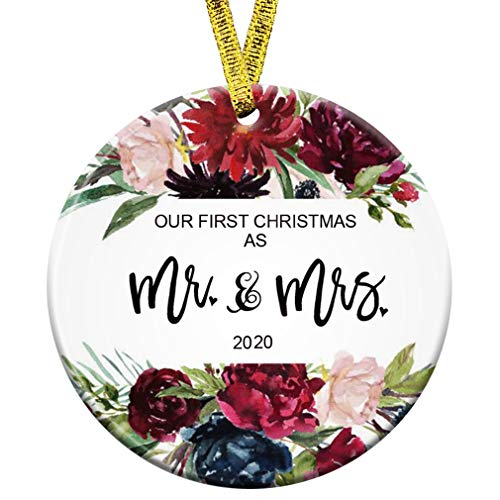 Kooer Our First Christmas as Mr & Mrs Ornament 2020 1st Year Newlyweds 3' Flat Circle Porcelain Ceramic Wedding Ornament (Rose Mr & Mrs)