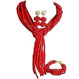 laanc nueva temporada popular joyería rojo boda de Nigeria África Juego de collar con pulsera con cuentas de cristal para pulsera cuentas pendientes nueva A000179