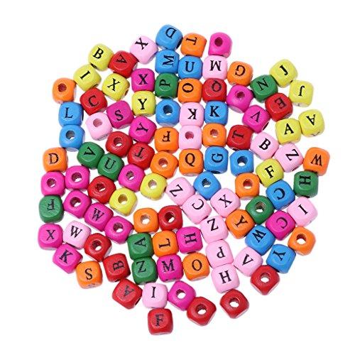 Fagu 100 Piezas Colorido Mezclado AZ Alfabeto Letra Cubo Cuentas de Madera fabricación de Joyas 10mm