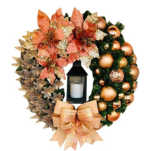 NYDG Decorative Wreaths, Swags & Hangers,Elegant Red Christmas Wreath Champagne Gold Christmas Wreath Window Door Wall Ornament Decorations
